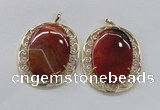 NGP2757 50*60mm oval agate gemstone pendants wholesale