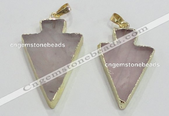 NGP3038 20*35mm – 25*40mm arrowhead rose quartz pendants