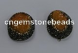 NGP3674 35*45mm oval plated druzy agate pendants wholesale