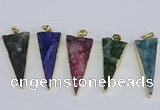 NGP3990 20*48mm - 25*50mm triangle druzy agate pendants wholesale
