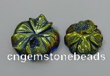 NGP4149 40*45mm - 50*55mm flower plated druzy agate pendants