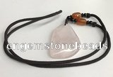 NGP5591 Rose quartz freeform pendant with nylon cord necklace