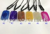 NGP5647 Agate rectangle pendant with nylon cord necklace