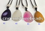 NGP5655 Agate flat teardrop pendant with nylon cord necklace