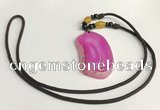NGP5658 Agate freeform pendant with nylon cord necklace