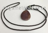 NGP5694 Agate flat teardrop pendant with nylon cord necklace