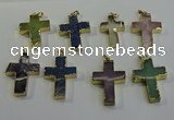 NGP6044 30*40mm - 35*45mm cross mixed gemstone pendants