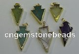 NGP6068 20*40mm - 25*45mm arrowhead mixed gemstone pendants