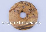 NGP612 5pcs 6*50mm picture jasper gemstone donut pendants wholesale