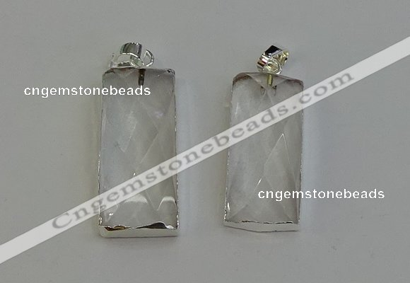 NGP6180 14*30mm - 15*38mm faceted rectangle white crystal pendants
