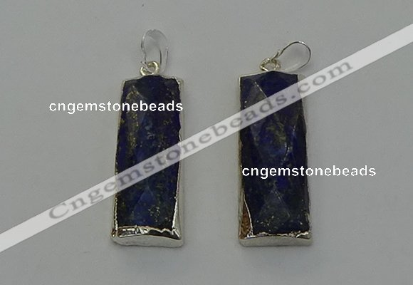 NGP6566 14*30mm - 15*38mm faceted rectangle lapis lazuli pendants