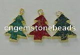 NGP6581 30*40mm - 32*40mm Christmas tree sea sediment jasper pendants