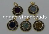 NGP6590 22mm - 22mm coin plated druzy agate gemstone pendants