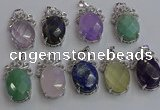 NGP6645 18*25mm faceted oval mixed gemstone pendants wholesale