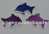 NGP6675 28*42mm - 30*45mm dolphin agate gemstone pendants