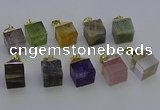 NGP6779 15*22mm cube mixed gemstone pendants wholesale