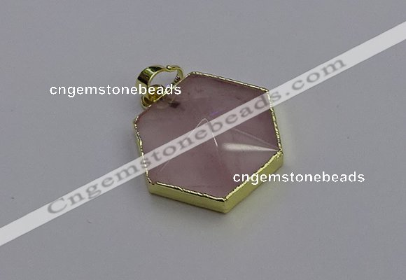 NGP6801 24*25mm hexagon rose quartz gemstone pendants wholesale