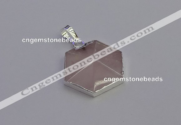NGP6821 24*25mm hexagon rose quartz gemstone pendants wholesale