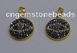 NGP6890 20mm - 22mm coin druzy agate pendants wholesale