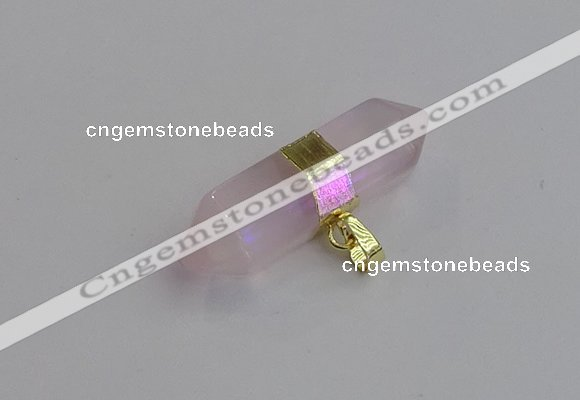 NGP7442 12*45mm sticks rose quartz pendants wholesale