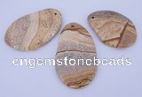 NGP958 5PCS 35-45mm*50-65mm freeform picture jasper gemstone pendants
