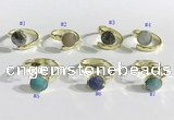 NGR1100 10mm faceted coin  mixed gemstone rings wholesale