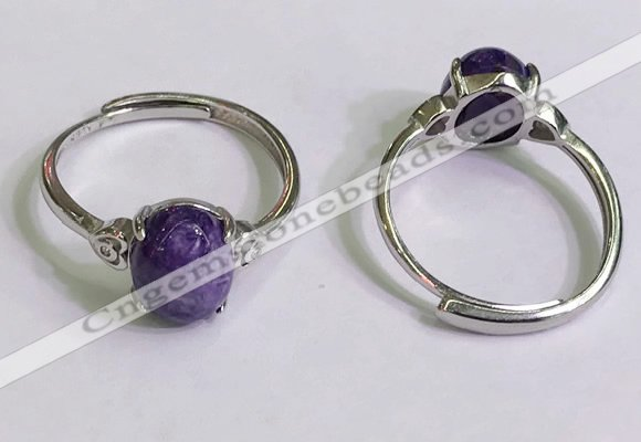 NGR3016 925 sterling silver with 8*10mm oval charoite rings