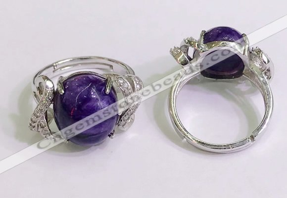 NGR3039 925 sterling silver with 12*14mm oval charoite rings