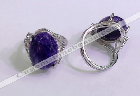 NGR3042 925 sterling silver with 12*16mm oval charoite rings